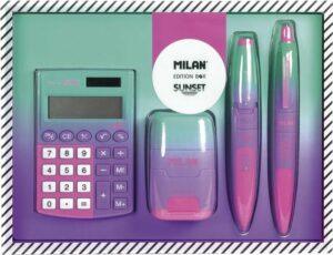 Milan Stationery Sunset Edition Box met rekenmachine, potlood, pen, puntenslijper en gum!