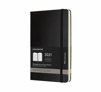 Moleskine 2021 Professional Weekly Vertical Planner, 12m, Large, Black, Hard Cover