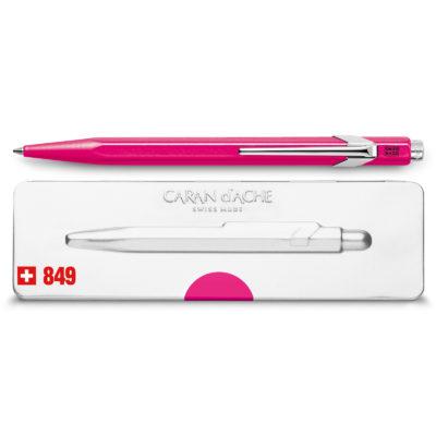 Roze-stylo-bille-849-popline-pourpre-fluo-avec-etui