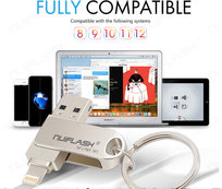 Flashdrive 3 in 1 Multi Functionele USB Stick voor iPhone, iPad, iPod -> 16 GB.
